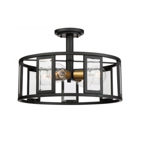 4-Light Payne Semi-Flush Light, Midnight Bronze, Clear Beveled Glass