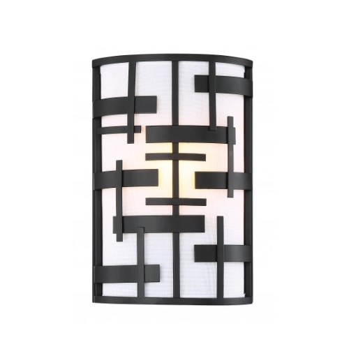 Lansing 2-Light Wall Sconce Light Fixture, Textured Black, White Fabric