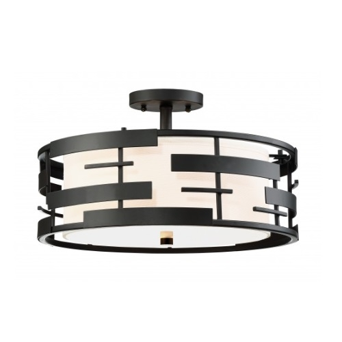 Nuvo Lansing Semi Flush Mount Light Fixture Textured Black