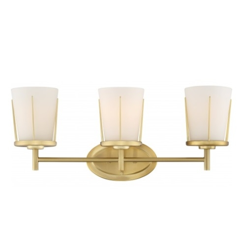 3-Light Serene Vanity Light Fixture, Natural Brass, Satin White Glass
