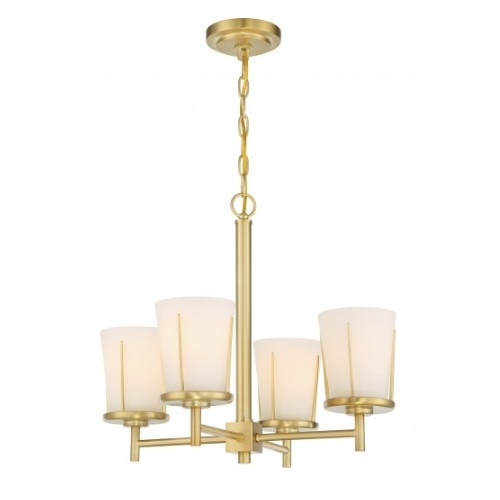4-Light Serene Chandelier Light Fixture, Natural Brass, Satin White Glass