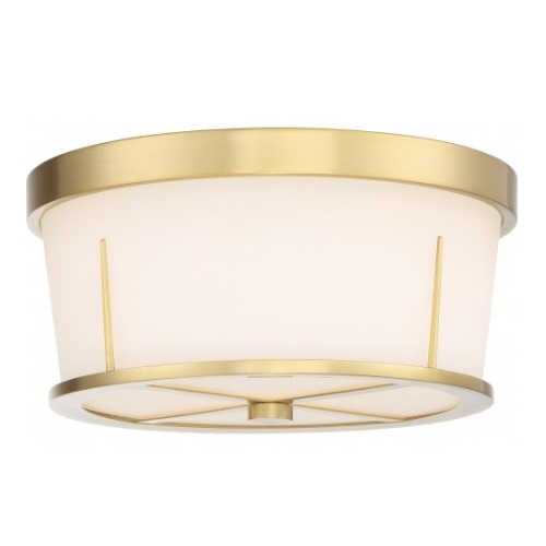Serene Flush Mount Light Fixture, Natural Brass, Satin White Glass