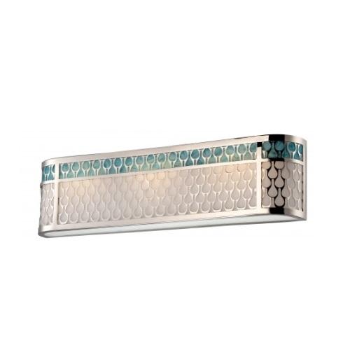 LED Raindrop Vanity Light, Polished Nickel, White Glass w/ Removable Insert