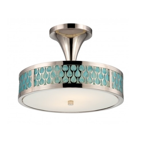 LED Raindrop Semi-Flush Mount, Polished Nickel, White Glass w/ Insert