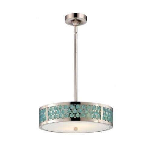 LED Raindrop Pendant Light, Polished Nickel, White Glass w/ Insert