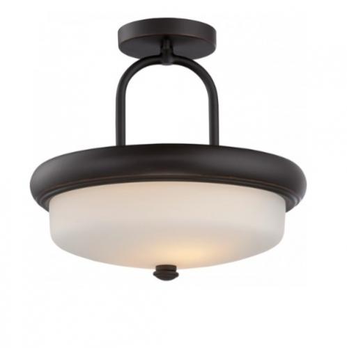 19.6W Dylan Semi-Flush Light, Etched Opal, Mahogany Bronze
