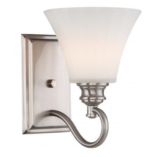 LED Tess Vanity Light Fixture, Brushed Nickel, Frosted Fluted Glass