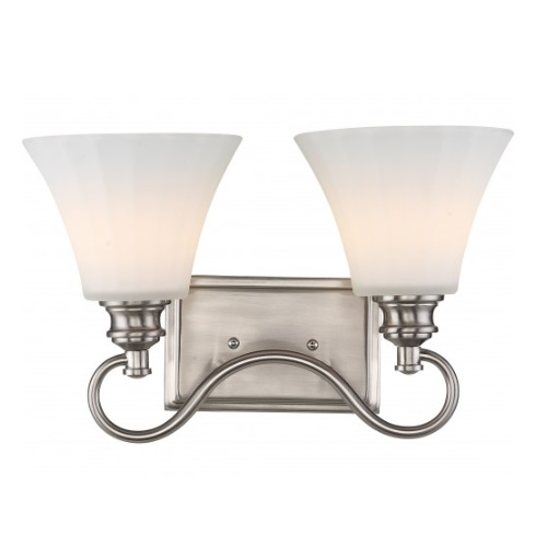 2-Light LED Tess Vanity Fixture, Brushed Nickel, Frosted Fluted Glass
