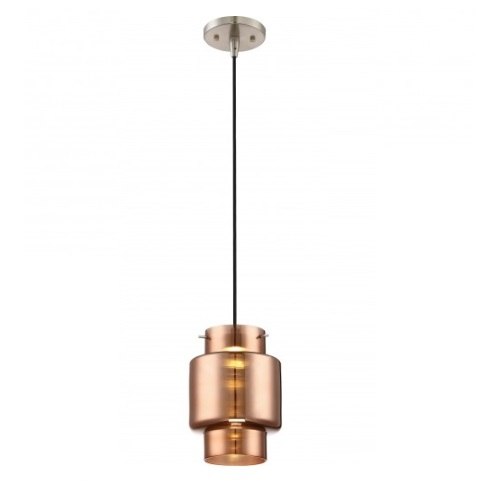 12W, Del LED Mini Pendant Lights, Copper Glass, Brushed Nickel Finish