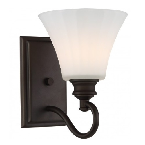 LED Tess Vanity Fixture, Forest Bronze, Frosted Fluted Glass