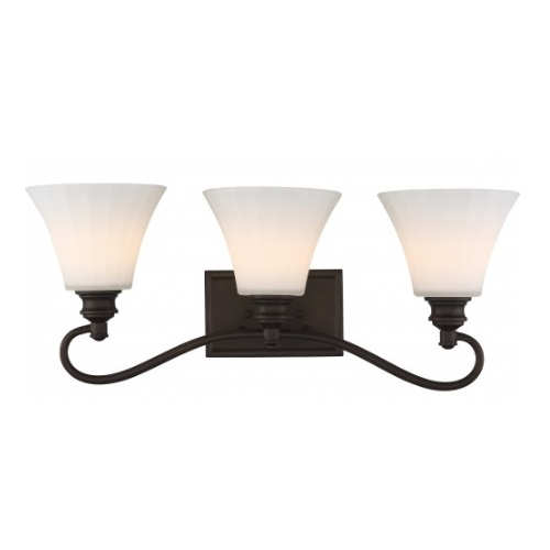 3-Light LED Tess Vanity Fixture, Forest Bronze, Frosted Fluted Glass