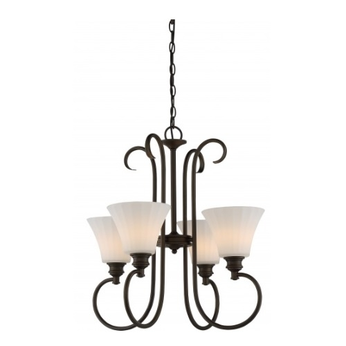 4-Light LED Tess Foyer Chandelier, Forest Bronze, Frosted Fluted Glass