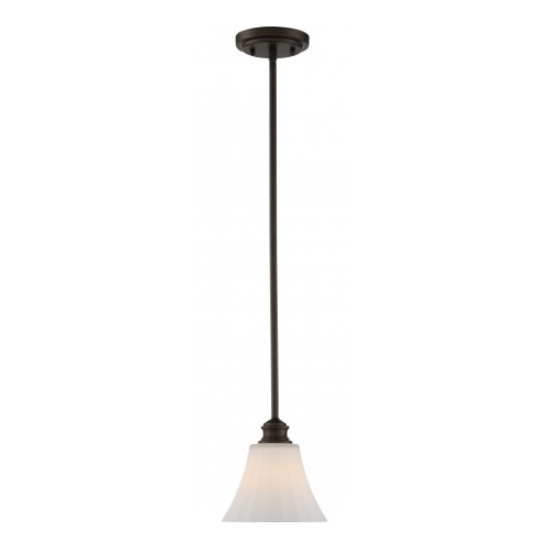 LED Tess Mini Pendant Light Fixture, Forest Bronze, Frosted Fluted Glass