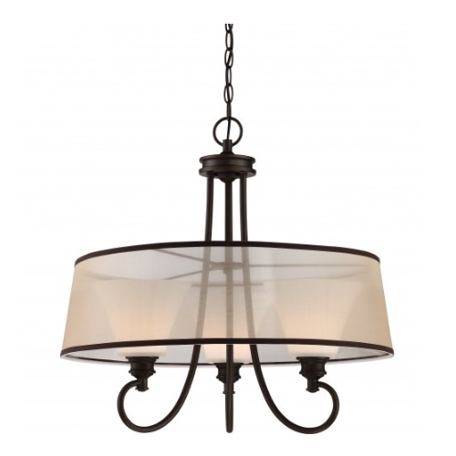LED Tess Pendant Light Fixture, Forest Bronze, Frosted Fluted Glass