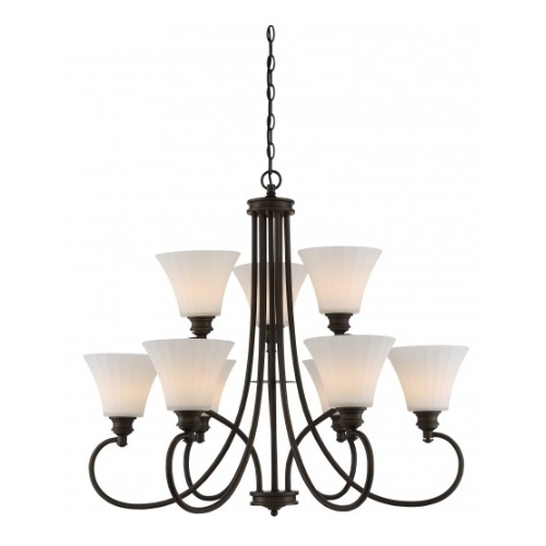 LED 9-Light Tess 2-Tier Chandelier, Forest Bronze, Frosted Fluted Glass