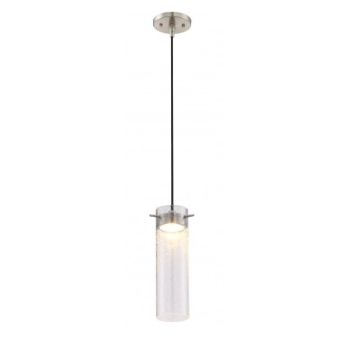Nuvo Led Pulse Mini Pendant Light Fixture Brushed Nickel Clear Seeded Gl