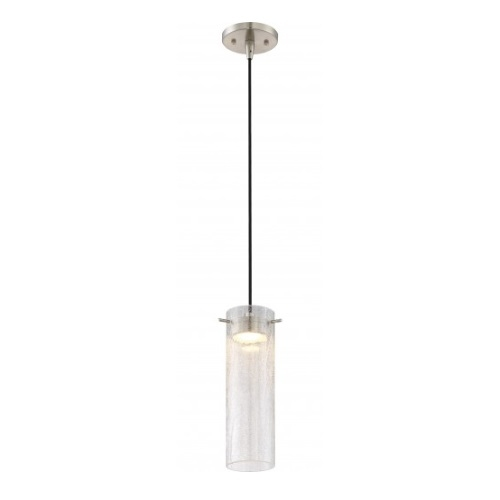 LED Pulse Mini Pendant Light Fixture, Brushed Nickel, Clear Crackle Glass