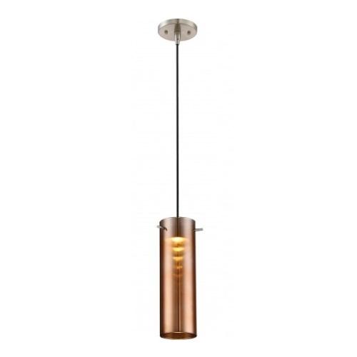 LED Pulse Mini Pendant Light Fixture, Brushed Nickel, Copper Glass