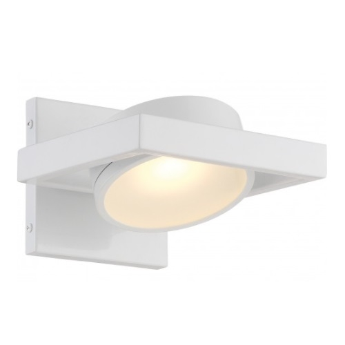 LED Hawk Pivoting Head Wall Sconce, White, Opaque Glass