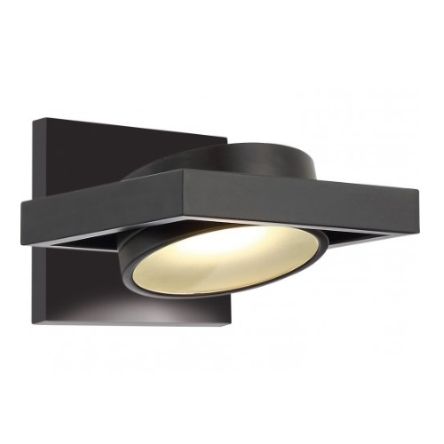 LED Hawk Pivoting Head Wall Sconce, Black, Opaque Glass