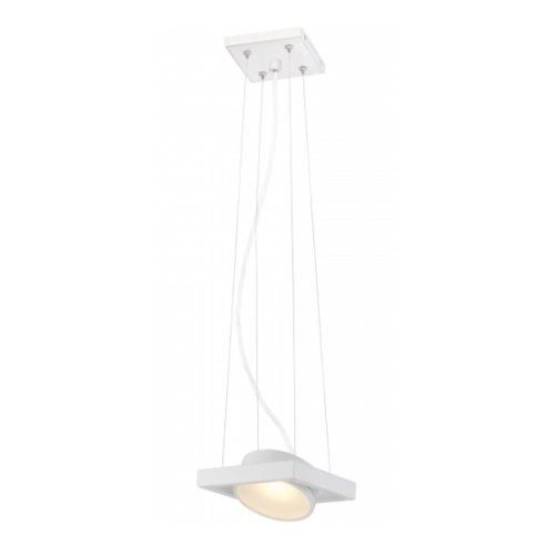 LED Hawk Pivoting Head Pendant Light, White, Opaque Glass