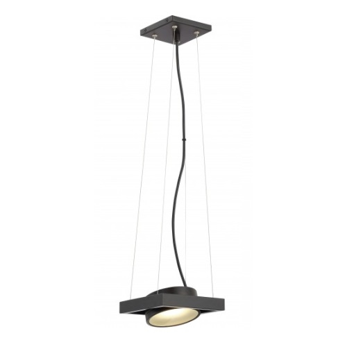 LED Hawk Pivoting Head Pendant Light, Black, Opaque Glass