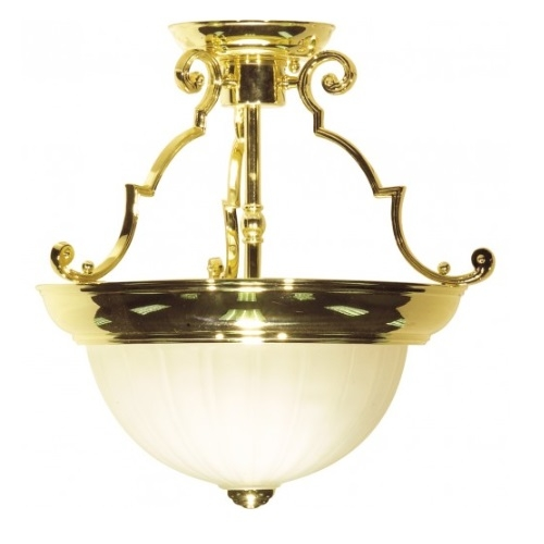 13in Semi-Flush Mount Light, 2-Light, Polished Brass