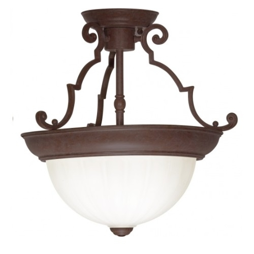 13in Semi-Flush Mount Light, 2-Light, Old Bronze