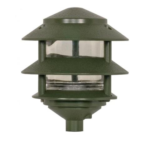3-Tier PagodaPathlight Fixture, Small Hood, 1-light, Green