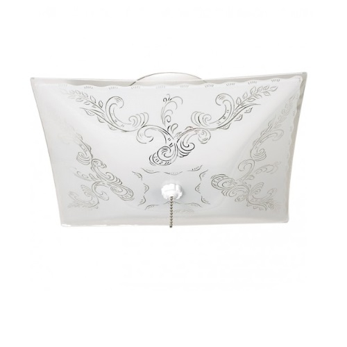 12in Floral Semi-Flush Mount Fixture, w/ Pull Chain, 2-light, White