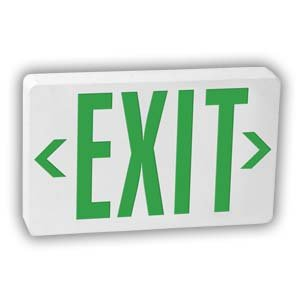 LED Exit Sign with Battery Backup, Universal Green
