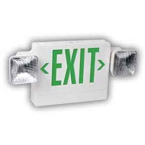 LED Exit Sign and Emergency Light Combo w/ Battery Backup, Universal Green