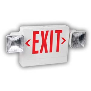 LED Exit Sign and Emergency Light Combo with Battery Backup, Universal Red