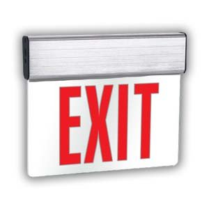 Edge-Lit LED Exit Sign, Red, Double Face, Emergency Battery Backup