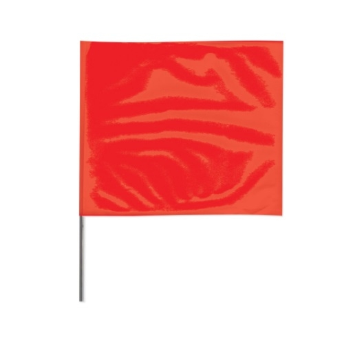 2X3 18-in Wire Stake Marking Flags, Red