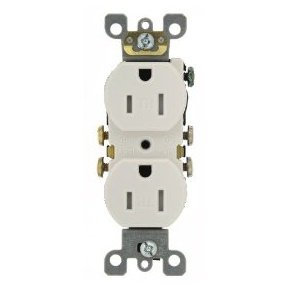 White 15A WRTR Self Grounded Receptacle