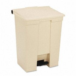 Beige Plastic Fire-Safe Step-On 12 Gal Receptacle
