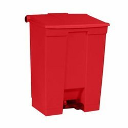 Red Plastic Fire-Safe Step-On 16 Gal Receptacle