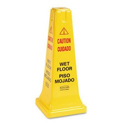 "Yellow ""Caution Wet Floor"" Safety Cone in English & Spanish"