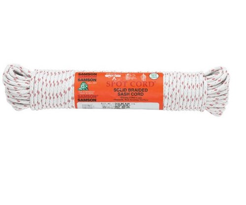 """3/8""""X100' White Cotton Sash Cord"""