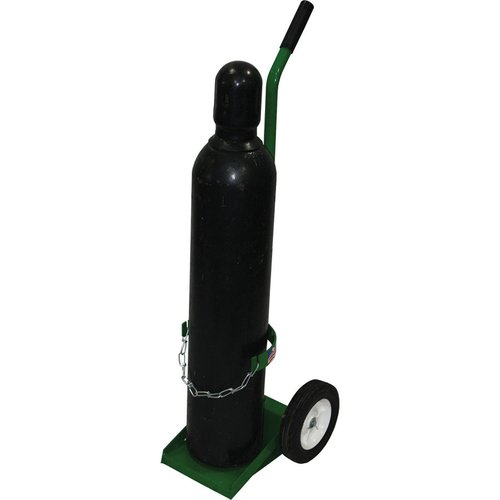 Green Cylinder Cart with Semi-Pneumatic Wheels