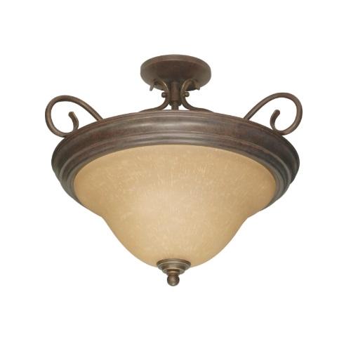 60W Castillo Series Semi Flush Ceiling Light w/ Champagne Washed Glass, Sonoma Bronze