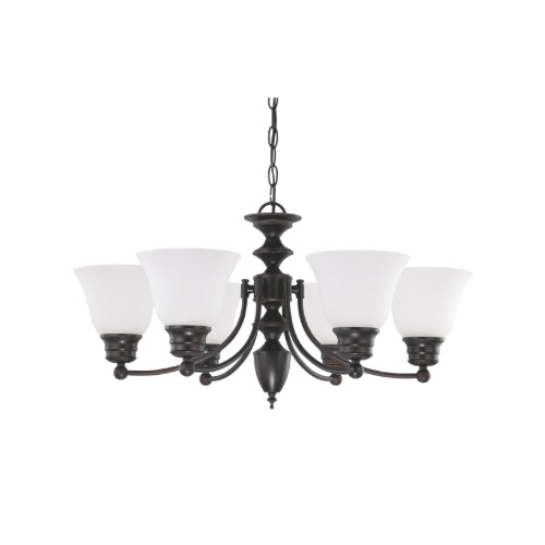 60W Empire Series Chandelier w/ Frosted White Glass, 6 Lights, Mahogany Bronze