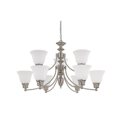 60W Empire Series Chandelier w/ Frosted White Glass, 2 Tier, 9 Lights, Brushed Nickel