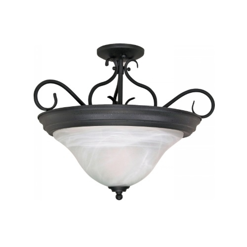 60W Castillo Series Semi Flush Ceiling Light w/ Alabaster Swirl Glass, Flat Black