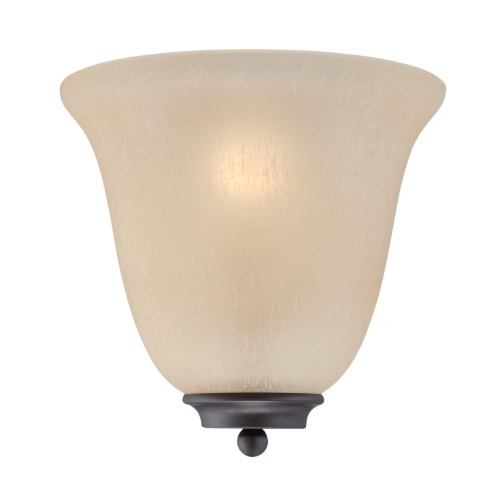60W Empire LED Wall Sconce w/ Champagne Linen Glass, 1 Light, Mahogany Bronze