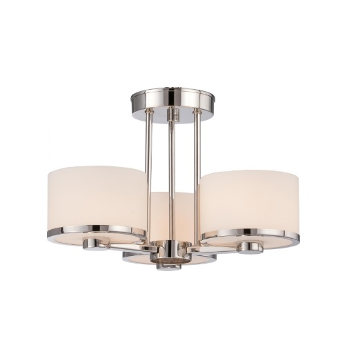 40W Celine Series Semi Flush Mount Ceiling Light w/ Satin Glass, 3 Lights, Nickel