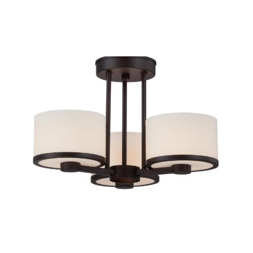 40W Celine Series Semi Flush Mount Ceiling Light w/ Satin Glass, 3 Lights, Bronze