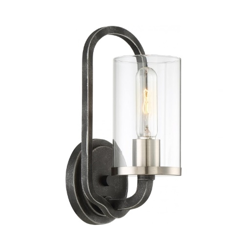 40W Sherwood Wall Sconce w/ Clear Glass, 1 Light, Iron Black w/ Brushed Nickel Accents