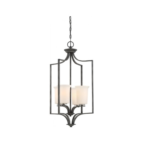 100W Chester Series Foyer Chandelier w/ White Glass, 4 Lights, Iron Black & Nickel